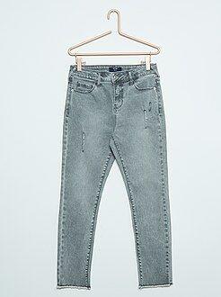 Meisjes jeans - Slimfit jeans met slijtplekken