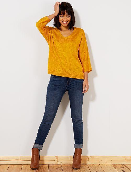 Slimfit jeans met superhoge taille - Lengte US32                                                                     blauw Dameskleding
