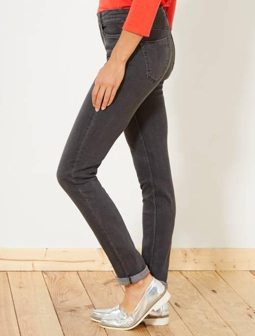 Slimfit jeans met superhoge taille - Lengte US32                                 donkergrijs