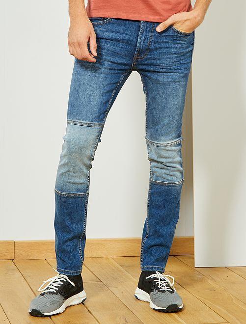 Slimfit jeans met verwassen knieën                             BLAUW