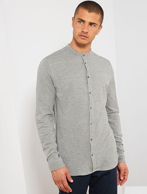 Slimfit overhemd van piqué                                                     GRIJS Herenkleding