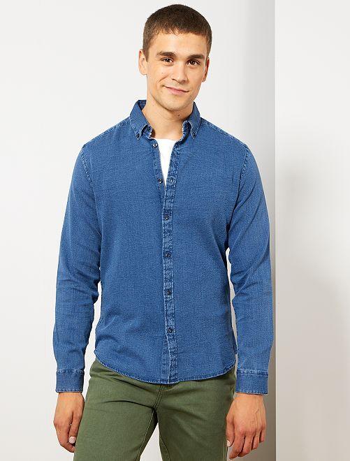 Slimfit overhemd van piquékatoen                             BLAUW