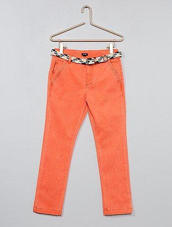 Slimfit pantalon met gevlochten riem - Kiabi