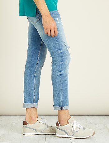 Slimfit stretch jeans met versleten plekken - Kiabi