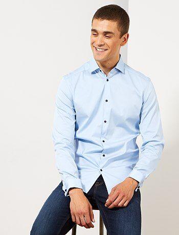 Overhemd Getailleerd Heren.Goedkoop Getailleerd Overhemd Heren Mooi Blauw Of Grijs Mode Kiabi