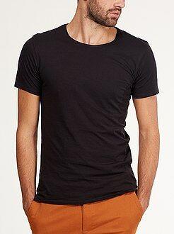 Slimfit T-shirt met ronde hals van licht tricot