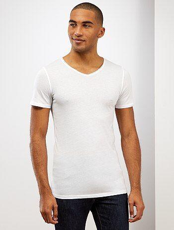 Slimfit T-shirt van effen katoen met een V-hals - Kiabi