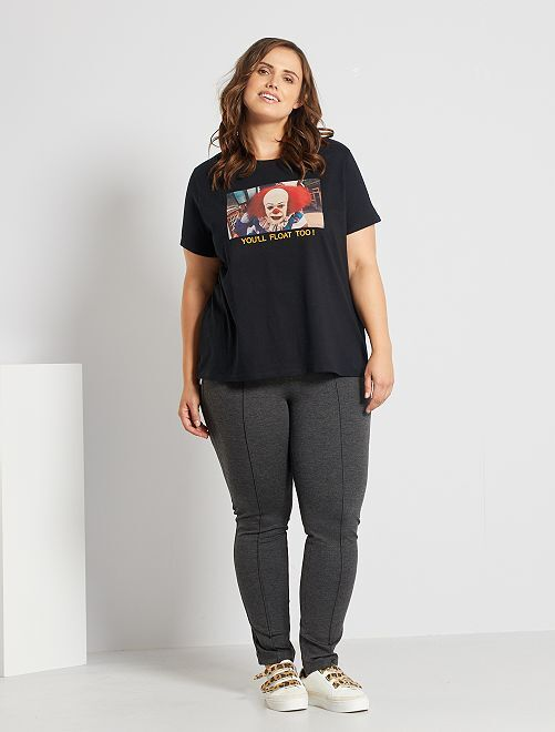 Smalle broek met hoge taille                                         GRIJS