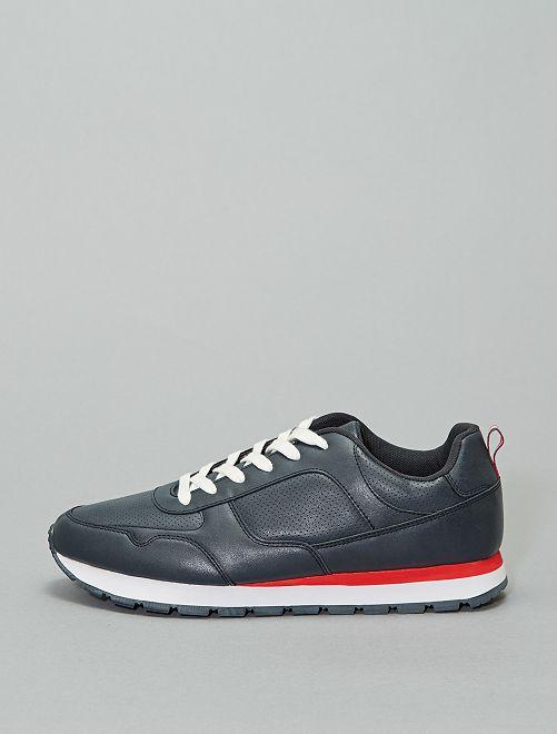 Sneakers met tweekleurige zool                             marineblauw