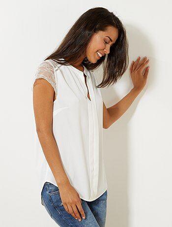 Soepele blouse met kant - Kiabi