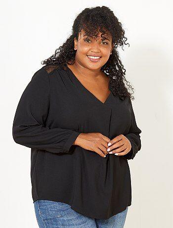 Dames Size+ - Soepele blouse met kant - Kiabi