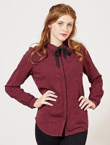 Soepele blouse met kraag met een strik - Kiabi