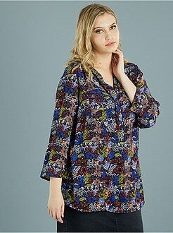 Top - Soepele blouse met maokraag en borstzakken