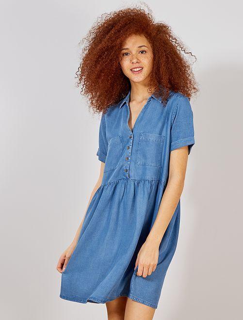 Soepele jurk in babydoll-stijl                             BLAUW Dameskleding
