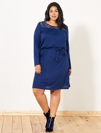 Soepele jurk met kanten detail - Kiabi