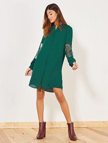 Soepele jurk met kanten mouwen - Kiabi