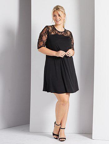Dames Size+ - Soepele jurk met kanten mouwen - Kiabi