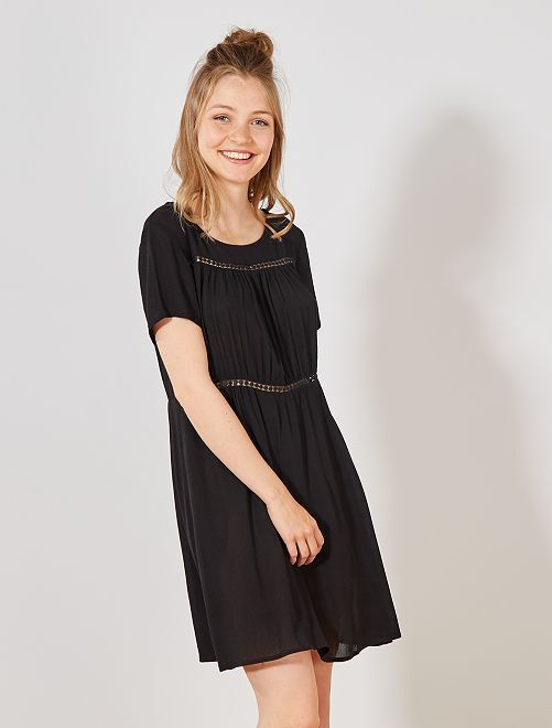 Soepele jurk met kantwerk van 'JDY'                                         zwart