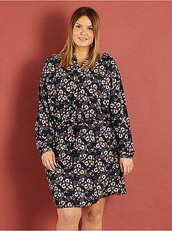 Jurk - Soepele jurk met print en koordje