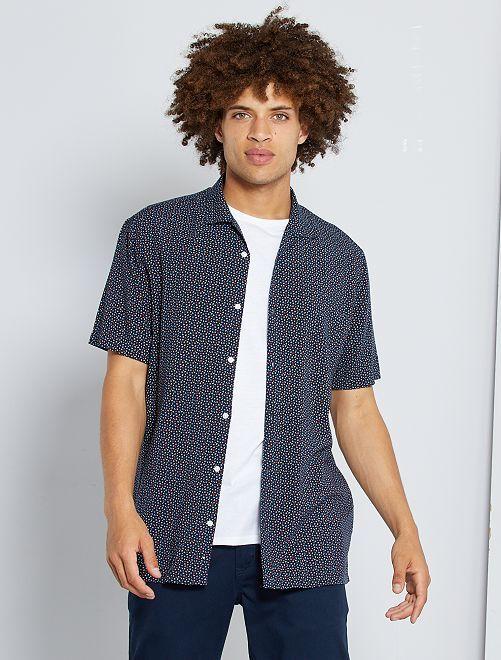Soepelvallend hemd met print                                                                             BLAUW
