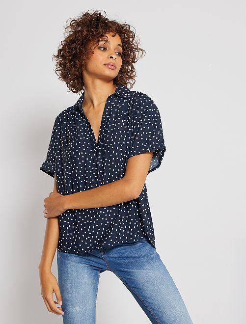 Soepelvallende blouse                                                     BLAUW