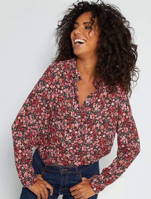Soepelvallende blouse met bloemenprint 'Ecodesign'                                                                                                                             ROSE