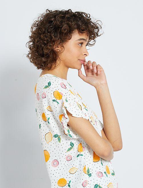 Soepelvallende blouse met print                                                                 WIT