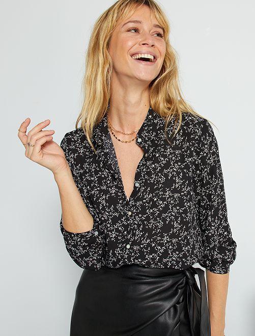 Soepelvallende blouse met rijstkorrelprint                                                                                                                             ZWART