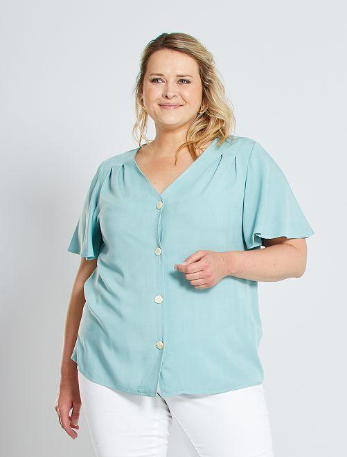 Soepelvallende blouse met vlindermouwen                             grijs groen