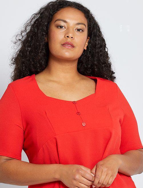Soepelvallende blouse van crêpe                                         rood