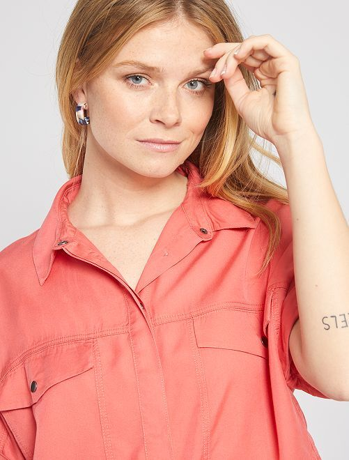 Soepelvallende blouse van lyocell                                                                             oranje roze