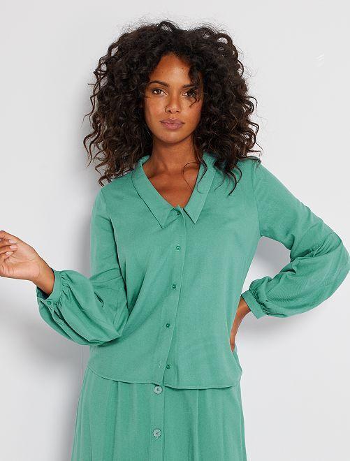 Soepelvallende overhemdbloes met lange mouwen                     groen
