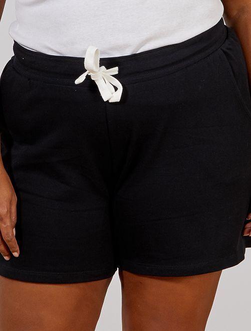 Sportshort van joggingstof                                         zwart Dames size+