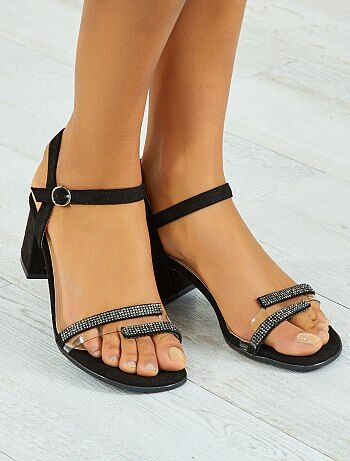 Stoffen sandalen met blokhak - Kiabi