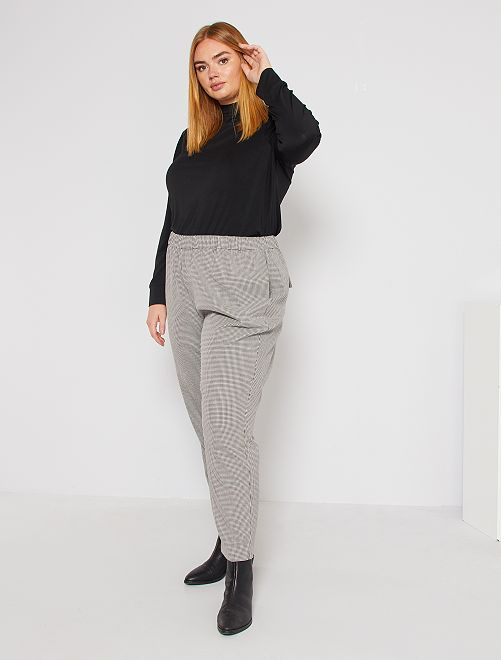 Straight-fit broek met pied-de-pouleprint                             BIEGE