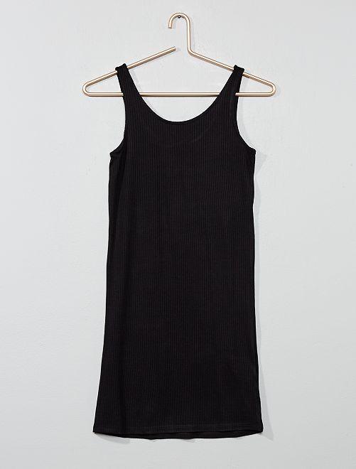 Strakke jurk van ribstof                     zwart Kinderkleding meisje