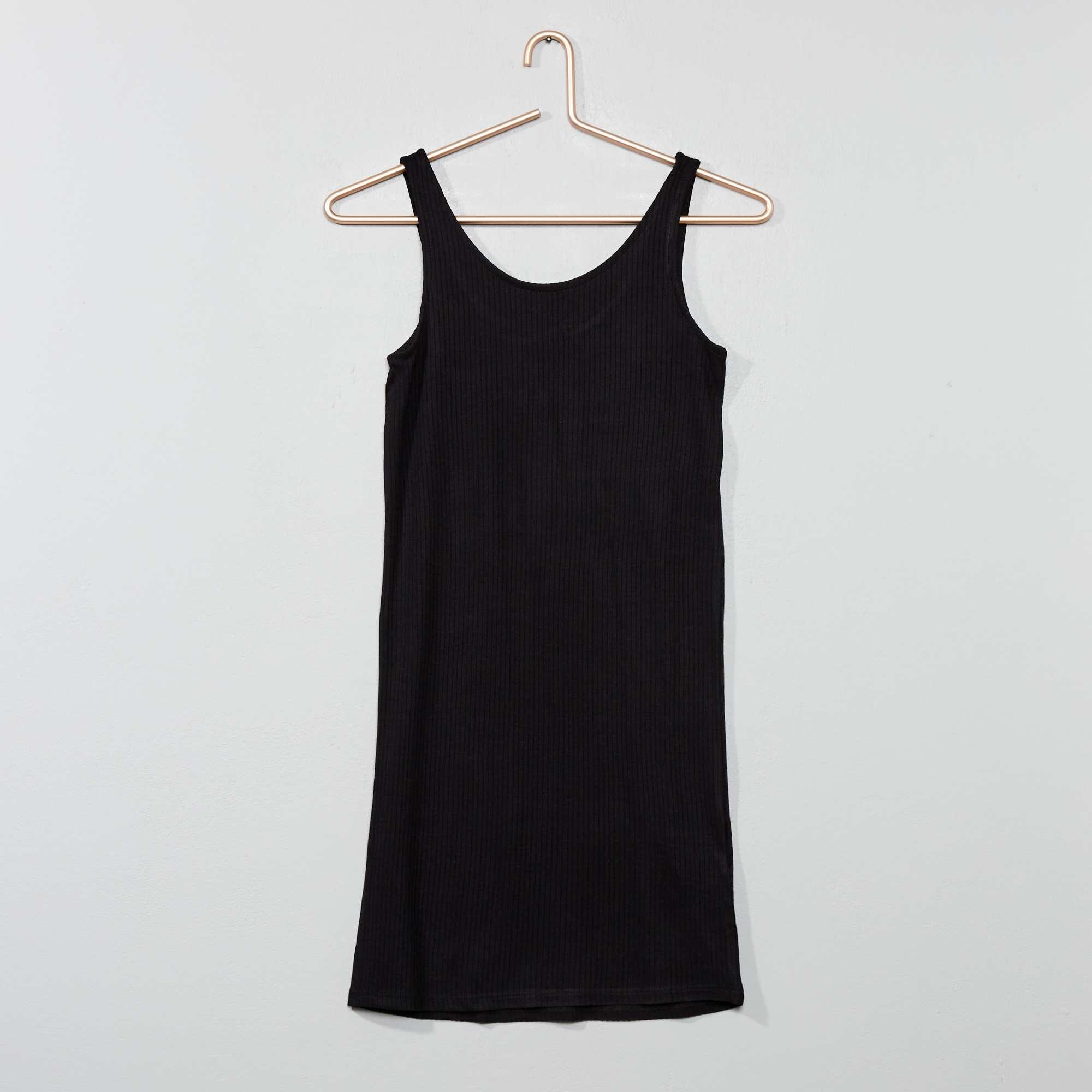 f73c204876b8cb Strakke jurk van ribstof Kinderkleding meisje - zwart - Kiabi - 10