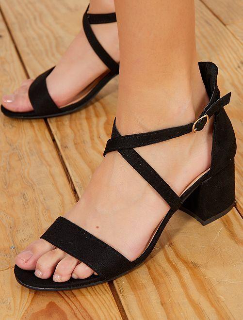 Suèdine sandalen met hak en bandjes                             zwart Schoenen
