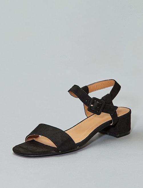Suèdine sandalen met hak                                         zwart Dameskleding