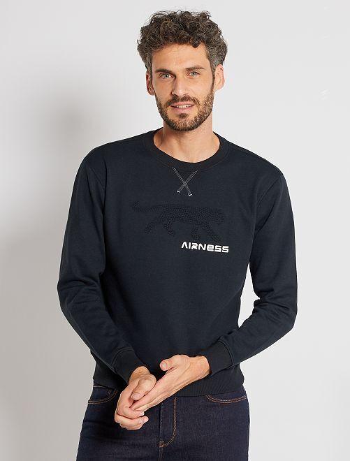 Sweater met 'Airness'-logo in reliëf                             zwart