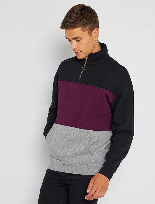 Sweater met color block en schipperskraag                             zwart