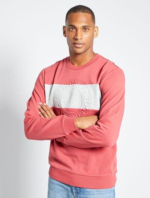 Sweater met color block in reliëf                             ROOD