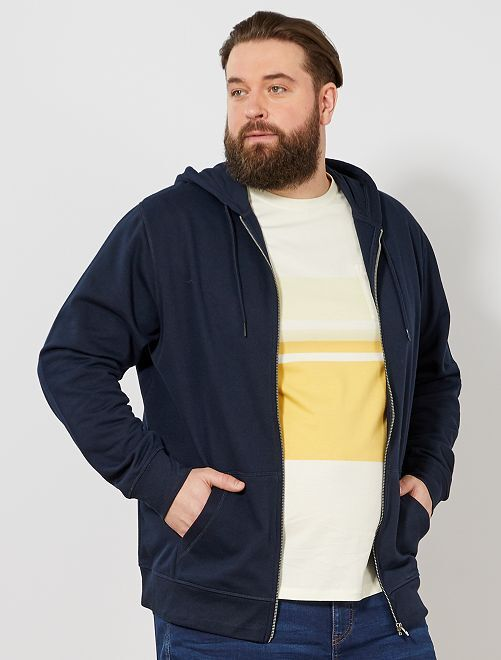 Sweater met een ritssluiting van dunne joggingstof                                         BLAUW