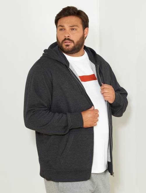 Sweater met een ritssluiting van dunne joggingstof                                                     grijs Herenmode grote maten