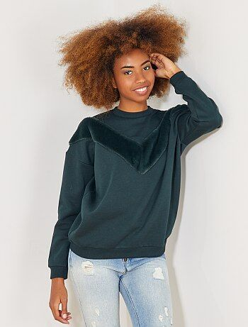 Sweater met imitatiebont - Kiabi