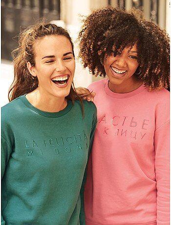 Damesmode maat 34-48 - Sweater met opschrift - Kiabi