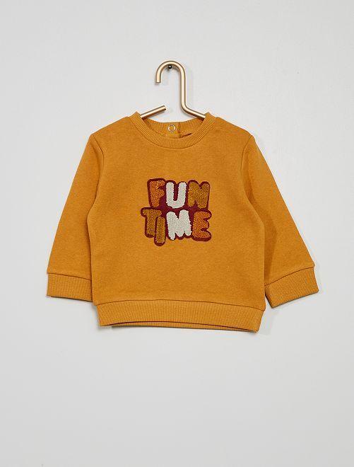 Sweater met opschrift van badstof                                                     GEEL