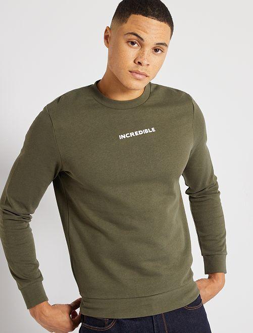 Sweater met print 'Ecodesign'                                                                 KAKI