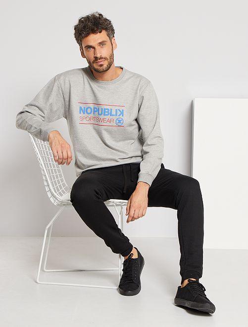 Sweater met reliëfprint                             grijs gemêleerd