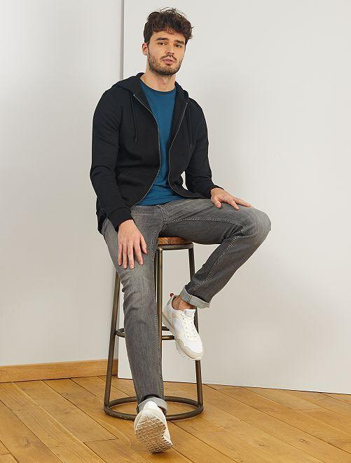 Sweater met rits en capuchon, +1m90                                                                 zwart